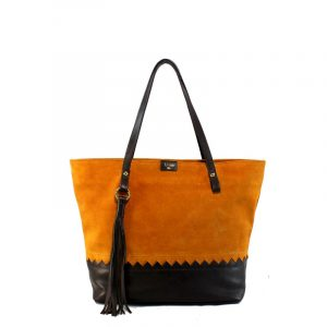 Shopping bag naranja y marrón marca blover