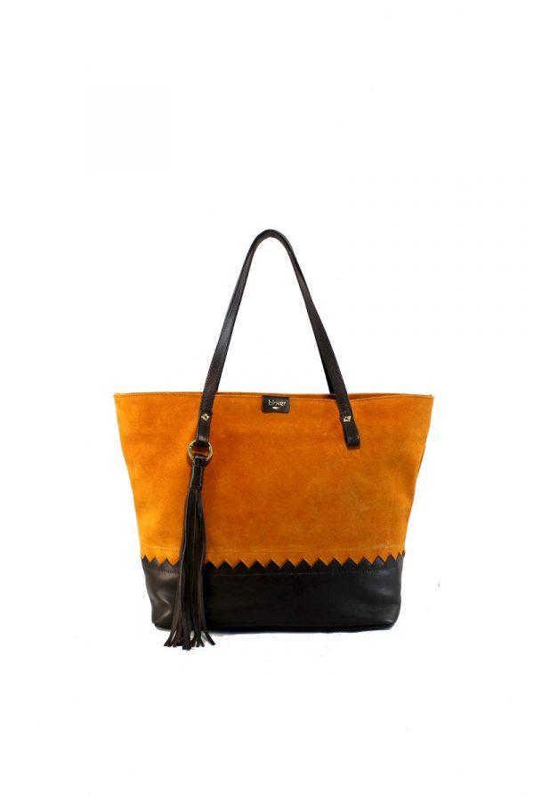 Shopping bag naranja y marrón marca blover