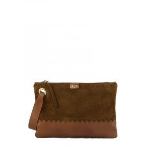 cartera de mano de piel marrón