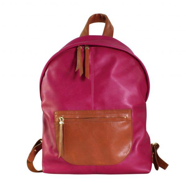 mochila de piel rosa