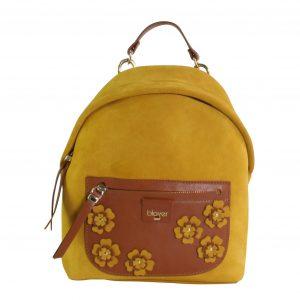 mochila de mujer en piel amarilla