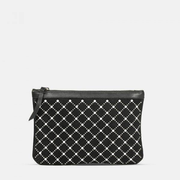 bolso cartera de mano de piel negra